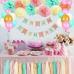 LITAUS Tri-Color Birthday Decorations, Party Decorations Sup
