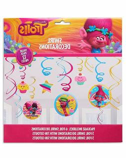 Trolls Poppy Hanging Swirl Decorations Birthday Party Suppli