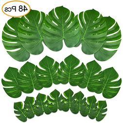 KUUQA 48 Pcs Tropical Party Decor Artificial Plant Tropical