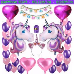 Unicorn Birthday Balloons Party Decorations Kit Supplies Set