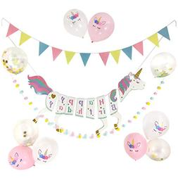 Unicorn Birthday Party Supplies Decorations, Unicorn Happy B