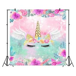 Unicorn Birthday Photo Backdrop Party Girls Vinyl 5 x 3 ft L