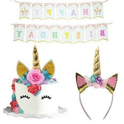 Unicorn Cake Topper Headband Banner Quality Crafted Party De