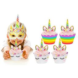 Unicorn Cupcake Toppers and Wrappers Double Sided Kids Party