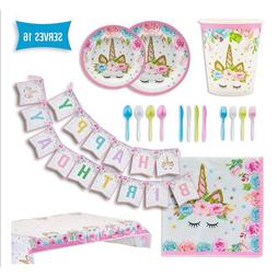 Unicorn Party Supplies Set for 16 Guests 114 Pieces Party De