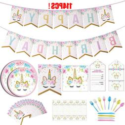 Unicorn Party Supplies Set Kids Princess Birthday Party Deco