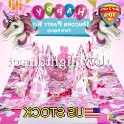 Unicorn Party Supplies Tableware Hanging Decoration Kit Supp