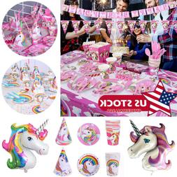 Unicorn Theme Party Supply Set Disposable Tableware Hanging
