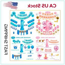US 1 st Happy Birthday Party Decorations Paper Banner Girl B
