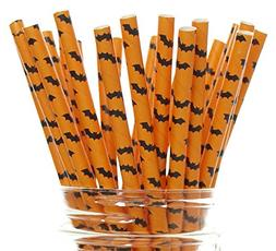 Vampire Bat Halloween Party Straws  - Orange & Black Bat Pat