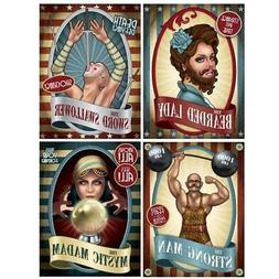 Vintage Circus Poster Cutouts 4 Pack 15-inch Circus Birthday