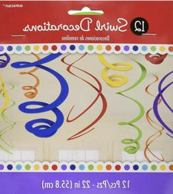 vivid rainbow plastic swirl decorations