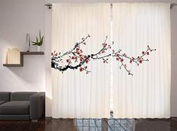 Ambesonne Watercolor Flowers Decor Collection, Cherry Branch