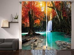 Ambesonne Waterfall Decor Collection, Deep Forest Waterfall