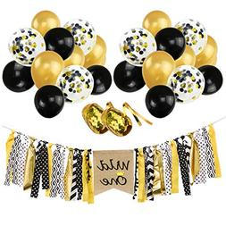 "Wild One Banner Gold Black Confetti Balloons Kit, 12"" Gold B"